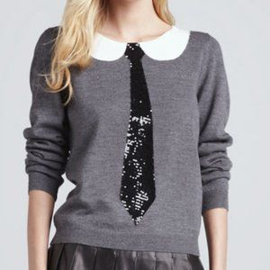Alice + Olivia Delray Sequin Tie Merino Sweater